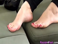 European babe shows feet