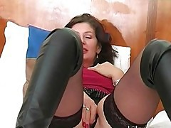 Slutty wife in lingerie and black boots fucks two hung studs